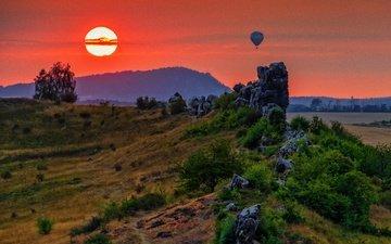 солнце, природа, закат, пейзаж, скала, германия, воздушный шар