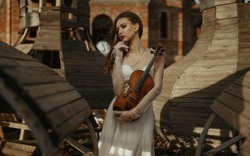 стиль, девушка, настроение, платье, поза, скрипка, перчатки
