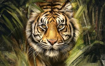 тигр, морда, арт, рисунок, листья, портрет, кусты, взгляд, живопись, заросли