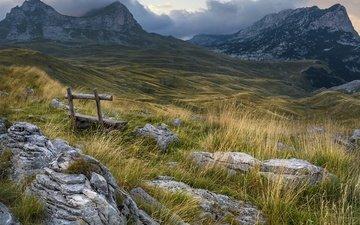 трава, облака, горы, природа, камни, пейзаж, скамья, черногория