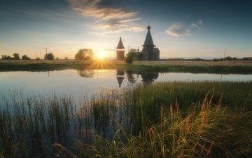 трава, озеро, солнце, природа, закат, лучи, пейзаж, церковь, архангельская область
