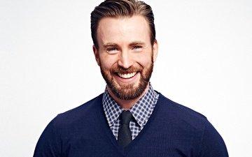улыбка, взгляд, актёр, борода, крис эванс