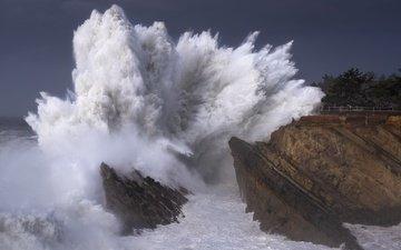 волны, море, волна, шторм, туристы