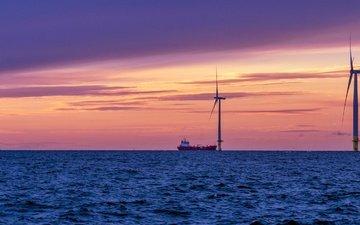 закат, море, корабль, ветряки, финляндия, ветряные мельницы