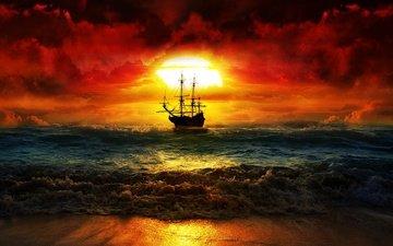 небо, облака, волны, закат, море, корабль, парусник, зарево