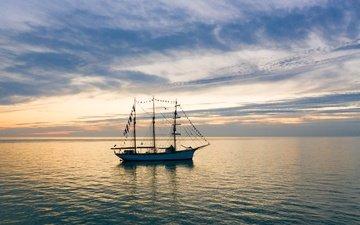 закат, море, парусник, ла-манш