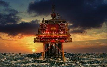 закат, море, шторм, платформа, северное море