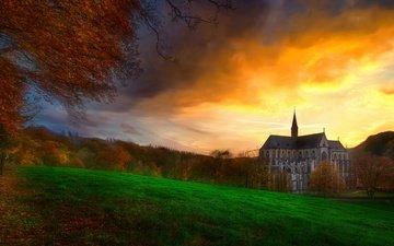 закат, осень, дом