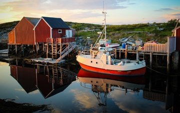 берег, домики, водоем, лодка