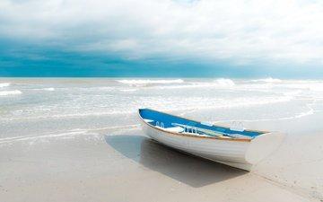 небо, берег, море, песок, пляж, горизонт, лодка