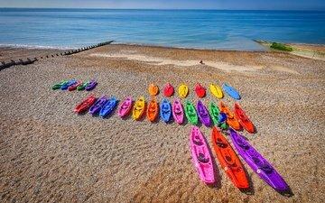 берег, море, лодки, много, мужчина, яркие цвета
