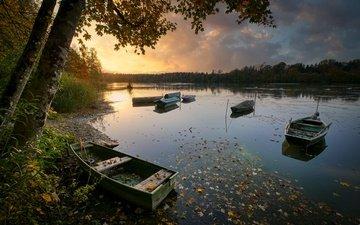 берег, осень, лодки, водоем