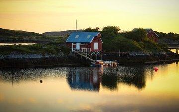 берег, водоем, домик, рыбацкий