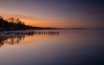деревья, озеро, берег, утро, туман, лодки, причал, германия