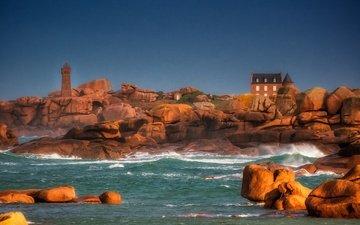камни, берег, море, дом