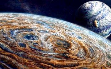 небо, звезды, горизонт, планеты, сфера, кратер, поверхность