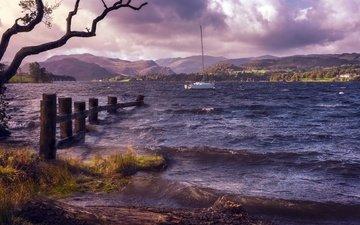 озеро, берег, волны