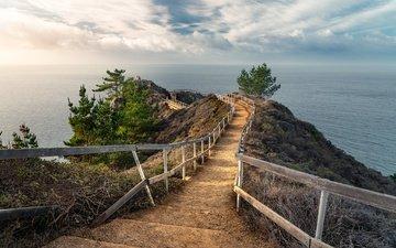 природа, берег, лестница, море