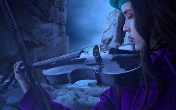 скалы, камни, девушка, скрипка, рендеринг, профиль, игра, лицо, берет, фотоарт