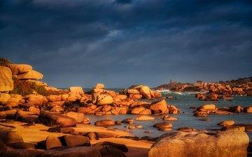 свет, камни, берег, море, домик