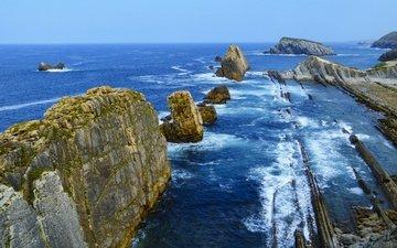 вода, скалы, берег, пейзаж, испания, кантабрия